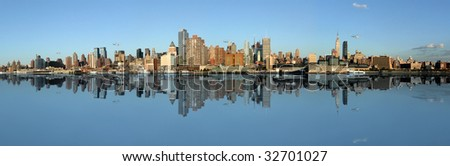 Manhattan panoramic Skyline, New York city - stock photo