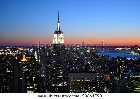 Manhattan sightseeing illuminated - stock photo
