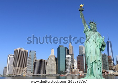 Manhattan Skyline and The Statue of Liberty, New York City - stock photo
