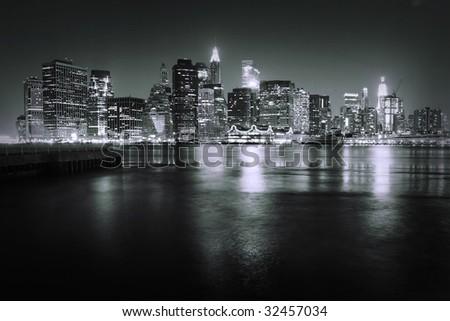 Manhattan skyline at night - stock photo