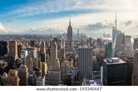 Manhattan skyline at sunset, New York City - stock photo