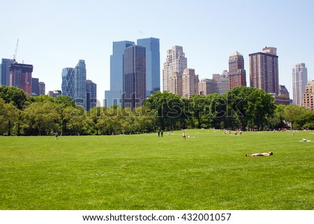 Manhattan skyline from Central Park - stock photo