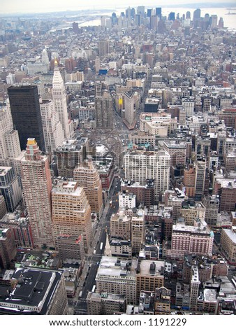 Manhattan Skyline From Top of Empire State Building -Vertical - stock photo