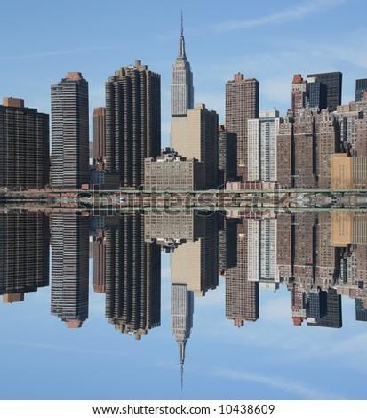 Manhattan skyline on a Clear Blue day, New York City - stock photo
