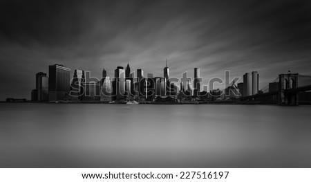 Manhattan Skyline with Brooklyn Bridge , New York City  - stock photo