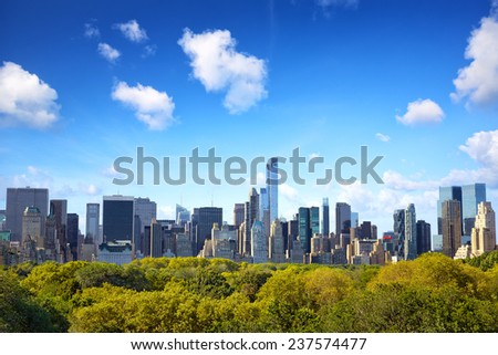 Manhattan skyline with Central Park in New York - stock photo