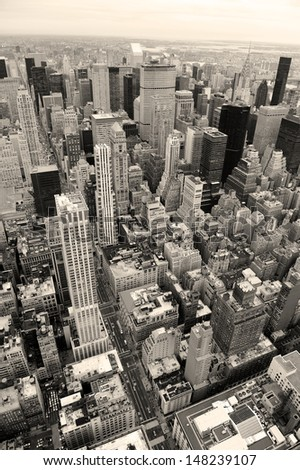 Manhattan skyline with New York City skyscrapers aerial view in black and white - stock photo
