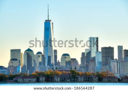Manhattan skyline with One World Trade Center building. - stock photo