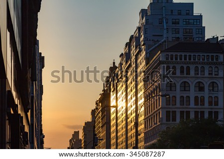 Manhattanhenge solstice sunset in New York City - stock photo