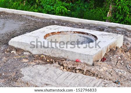 Manhole of drainage construction  - stock photo