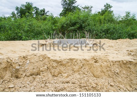 Manhole of drainage pipe under construction - stock photo