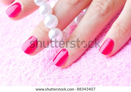 manicre treatment at the wellness salon - stock photo