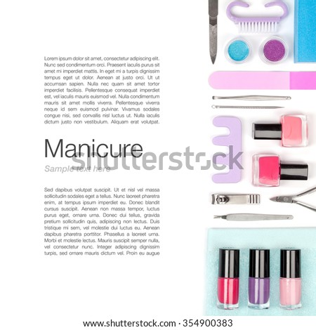 manicure and pedicure set on white background - stock photo