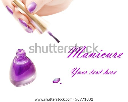 manicure: nail polish and woman hand over white background with copyspace - stock photo