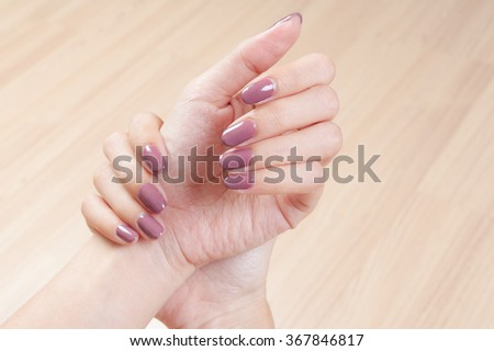 manicure nails and woman hand - stock photo