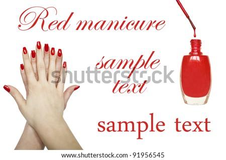 Manicure set - Beautiful red manicured woman hand and red nail polish - stock photo