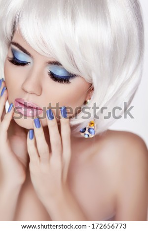 Manicured nails and sensual lips. Blond woman Portrait. White short hair style. Professional makeup. Fashion Beauty Photo  - stock photo
