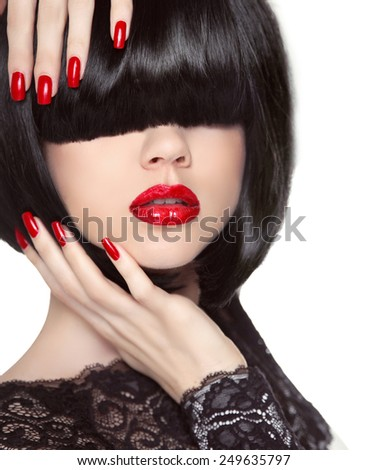 Manicured nails. Red lips. Black bob hairstyle. Brunette Girl with short Healthy Hair isolated on white studio background. - stock photo
