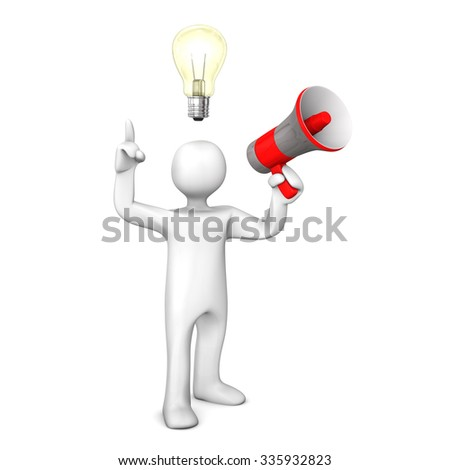 Manikin with bulb and red bullhorn on the white. 3d illustration.  - stock photo