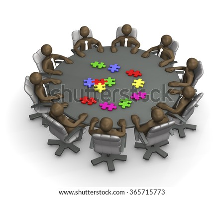 Manikins sitting at round conference table, putting together jigsaw puzzle, 3D rendering - stock photo