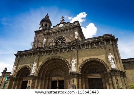 Manila Cathedral located in the Intramuros district of Manila , Philippines - stock photo