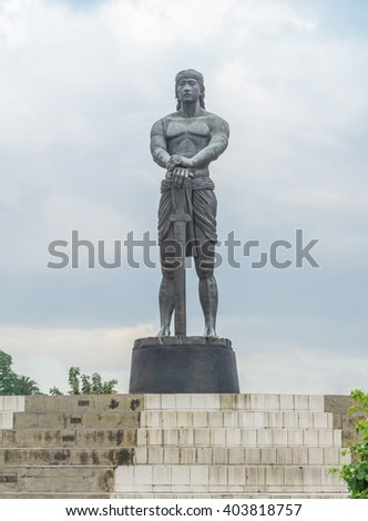 Manila City, Philippines -  29, 2016. Lapu-Lapu the 40-foot bronze statue, he is the first Filipino hero who fought and won against the Spanish colonization. - stock photo
