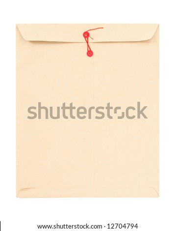 Manila envelope with red string isolated on white. - stock photo