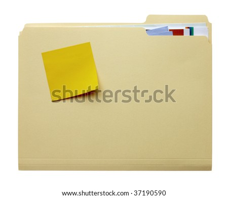 manila folder filled with paperwork and blank yellow stickie tacked to outside of folder - stock photo