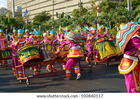 MANILA, PHILIPPINES - APR. 14: street dancers on parade during Aliwan Fiesta, which is the biggest annual national festival competition on April 14, 2012 in Manila Philippines. - stock photo