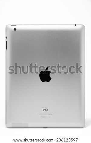 Manila,Philippines - July 17, 2014: Apple Ipad 4th generation backside studio shoot. The fourth generation iPad was introduced on September 12 and was first released on 2012. November 2, 2012. - stock photo