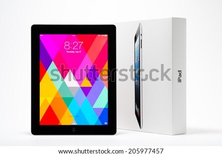 Manila,Philippines - July 17, 2014: Apple Ipad 4th generation (Retina Display) with with iOS 7 . iOS 7 new operation system from Apple Inc. It was  released on September 18, 2013. - stock photo