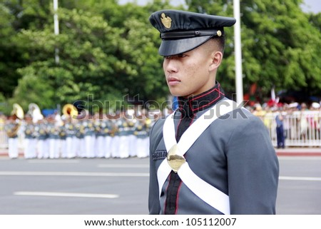 MANILA,PHILIPPINES-JUNE 12:Officer of the Armed Forces parade at The Philippines Independence day on June 12, 2012  in Manila. The Philippines celebrate the 114th Independence Day. - stock photo