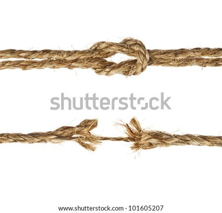 Manila ropes , close up,  isolated on white background - stock photo