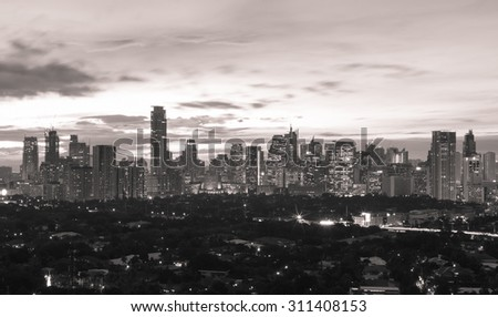 Manila skyline at night, Philippines - stock photo