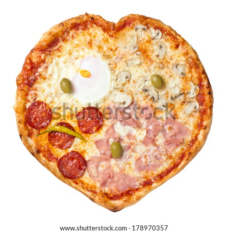 Manipulated shot of Four Seasons Pizza heart shaped and isolated. I love you four seasons message - stock photo