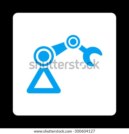Manipulator icon. This flat rounded square button uses blue and white colors and isolated on a black background. - stock photo