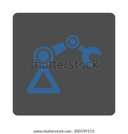 Manipulator icon. This flat rounded square button uses cobalt and gray colors and isolated on a white background. - stock photo