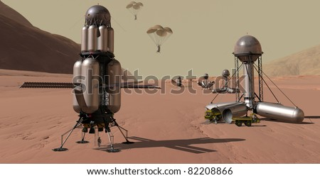 Manned Mars spacecraft accompanied by automated chain of cargo landers - stock photo
