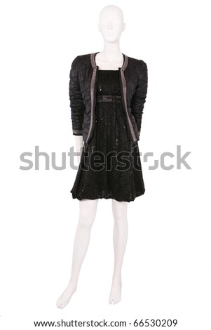Mannequin dressed in jacket and little black dress - stock photo