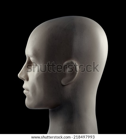 Mannequin head on black background with clipping path - stock photo
