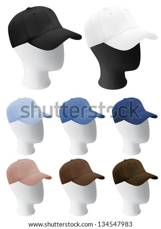 Mannequin heads with blank baseball cap template. - stock photo