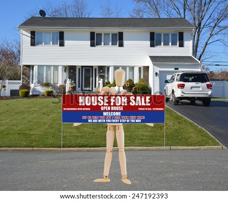 Mannequin holding real estate for sale open house welcome for High ranch house