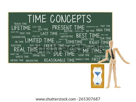 Mannequin Hourglass Time Concepts Blackboard: Present, Best, Limited, Last, Lifetime, Flex, Actual, Due, Real, alone, bedtime, wintertime, worst, idle, good, spring, overtime, crazy, peace, donate - stock photo