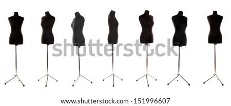 Mannequin in different perspectives isolated on white - stock photo