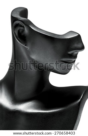 Mannequin Jewelry Necklace Earrings right Closeup. Puppets. white background - stock photo