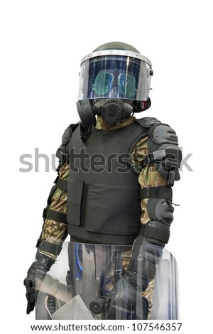 Mannequin - policeman with full anti riot equipment isolated on white background. - stock photo