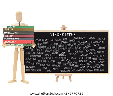 Mannequin school books: Stereotype Black Board on Easel (Nerd, Cutter, Metrosexual, Wall Flower, Geek, Pothead, Snob, Thug, Ghetto, Outcast, Acid Head, Social Deviant, Tranny, Artsy, Skater) - stock photo