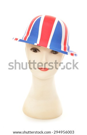 mannequin wearing a union jack bowler party hat cutout - stock photo