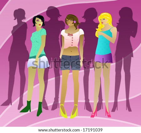 Mannequins with shadows. - stock photo