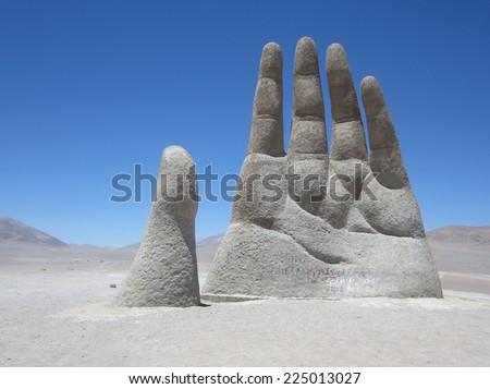 Mano del Desierto; a big hand - stock photo